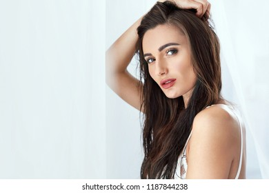 Beautiful Woman Portrait With Beauty Face And Hair