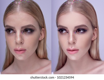 Beautiful woman portrait with bright evening make-up blonde hair and healthy skin