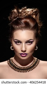 beautiful woman portrait with bright fashion make up