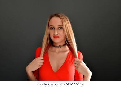 Beautiful woman portrait close up studio on white blonde