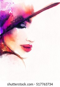 Beautiful woman portrait. Elegant hat. Abstract fashion watercolor illustration