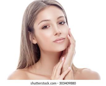 Beautiful woman portrait face studio on white