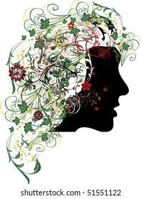 beautiful woman portrait with flowers illustration