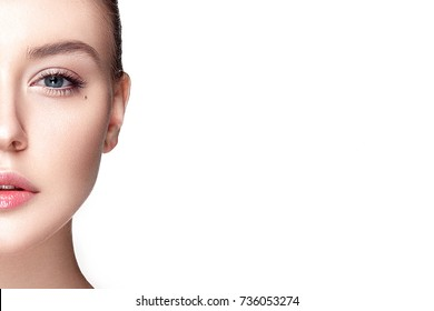 Beautiful woman portrait with fresh clear nude make up, healthy skin, skin care.