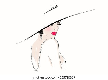 Beautiful woman portrait with hat. abstract illustration .digital art. fashion background