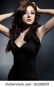 beautiful woman portrait wearing black dress