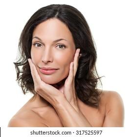 Beautiful woman posing - close up. White background.