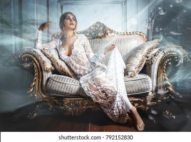Beautiful woman posing in his apartment