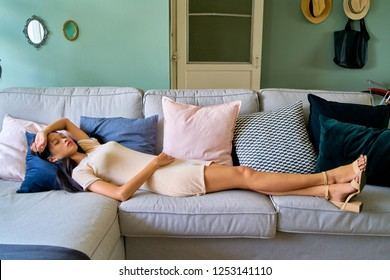 Beautiful woman posing - lying down and sleeping