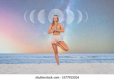 Beautiful woman is practicing yoga on the beach on Milky Way background, starry sky.