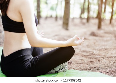 Beautiful woman is practicing yoga in the park.close up hand yoga concept