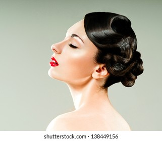 beautiful woman with professional hairstyle