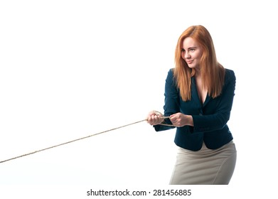 beautiful woman pulls the rope