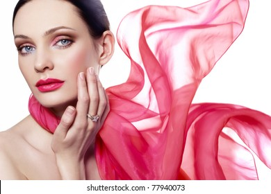 Beautiful woman in red color scarf