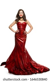 Beautiful Woman in Red Dress, Elegant Lady in Fluttering Sparkling Gown on white background