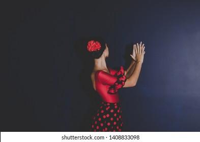beautiful woman in red flamenco dress dancing flamenco