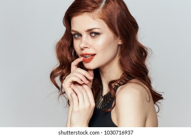 beautiful woman with red hair and, elegance,  self-confidence