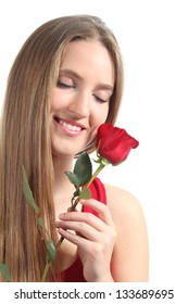Beautiful woman with a red rose isolated on a white background