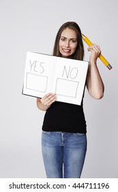 Beautiful woman with referendum choice, portrait