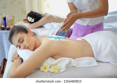 Beautiful woman relaxed in spa salon