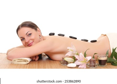 beautiful woman relaxing in spa. isolated on white