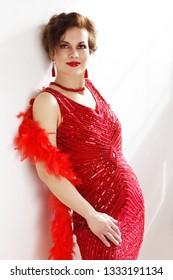 beautiful woman retro flapper style woman in red dress, roaring 20s