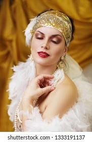 beautiful woman retro flapper style woman , roaring 20s