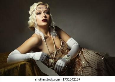 beautiful woman retro flapper style woman  retro vintage roaring 20s
