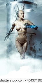 beautiful woman robot smashes glass flask, cyborg, laser