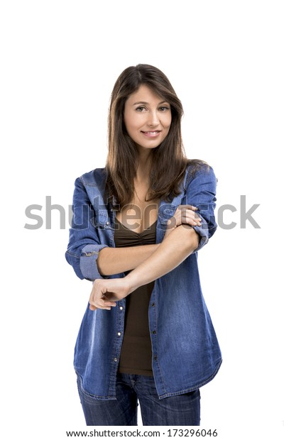 Beautiful woman rolling up her sleeves, isolated over white background