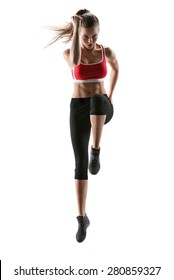 Beautiful woman runner in silhouette on white background. Photo of young woman in  sportswear. Dynamic movement. Strength and motivation. Full length