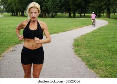 Beautiful Woman Running at Park