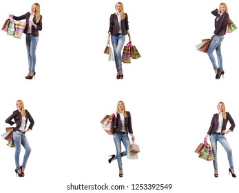 Beautiful woman with shopping bags isolated on white