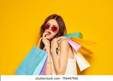 beautiful woman with shopping, fashion