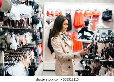 Beautiful woman shopping lingerie and under ware