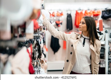 Beautiful woman shopping lingerie and underware