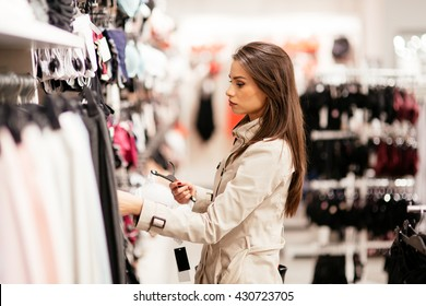 Beautiful woman shopping sexy lingerie