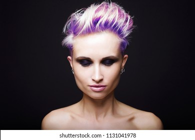 beautiful woman with short Colorful hair. beauty girl with Blue Hair Style and Make-up