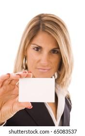 Beautiful woman showing her business card
