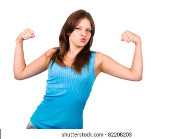 Beautiful woman showing her strong arms