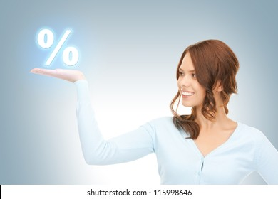beautiful woman showing percent sign on the palms of her hands