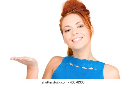 beautiful woman showing something on the palm of her hand