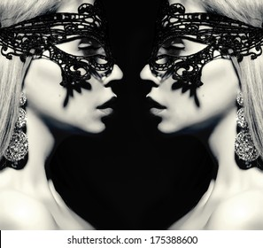 beautiful woman silhouette with reflection