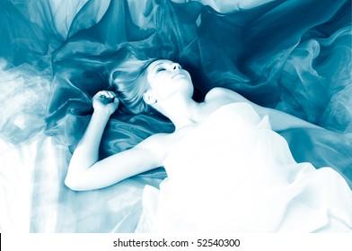 beautiful woman in silk