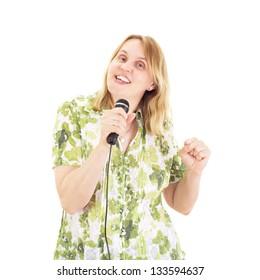 Beautiful woman singing and dancing