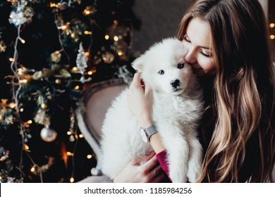 beautiful woman sits on a vintage couch on a white blanket with three white samoyed puppies hugs, cuddles. on a background of a Christmas tree dresser with candles in a decorated  room. happy new year