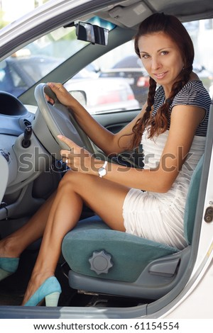 Short dress driving car