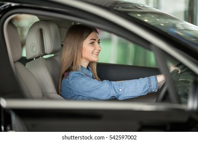 beautiful woman sitting at the wheel of a car