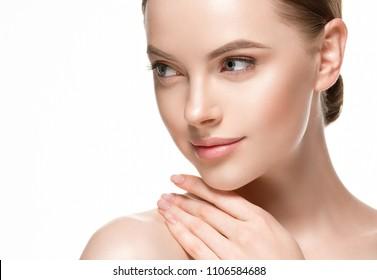 Beautiful woman skin care concept, healthy skin face closeup female studio portrait