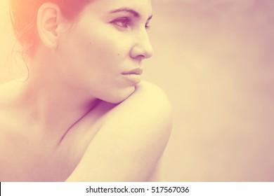 Beautiful woman skin, natural cosmetic